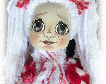 Amelia, A Lil Darlin Original, Christmas Belle Series, OOAK Art Doll, Cloth Doll, Christmas, Handmade, Hand Painted, Ornament, OOAK Ornament
