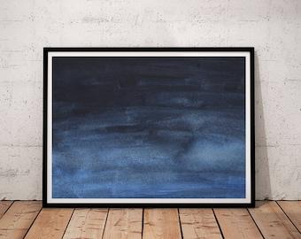 Navy printable Wall Art, Blue Abstract Watercolor Print, Indigo Digital Print, Navy Home Decor, Navy Blue Art, Navy Decor, printable art