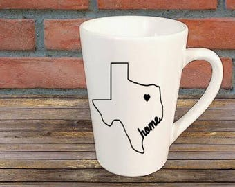Texas Home Mug Coffee Cup Gift Home Decor Kitchen Bar Gift for Her Him Any Color Personalized Custom Jenuine Crafts