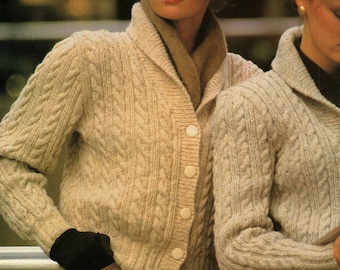 Ladies Cable Cardigans, 12 & 8 Ply, Knitting Pattern. PDF Instant Download.