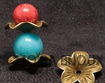 10 caps cups bronze flower 5 petals 18mm