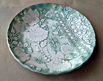 Ceramic Shallow Bowl Sea green Damask and lace pattern