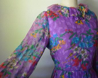 1960s Arnold Scaasi Silk Chiffon Dress Purple Floral Silk Chiffon with Ruffle Collar Long Sleeve Tea Length Garden Party Dress Size Medium