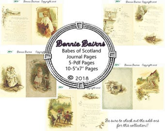 Bonnie Bairns : Babes of Scotland  -Vintage Junk Journal  - Junk Journal - Journal Kit - Writing Journal - Junk Journal Kit- Smash Book