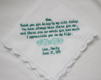 Mom I Appreciate You In My Life Embroidered Wedding Handkerchief  Gift to Mom From Groom or Bride
