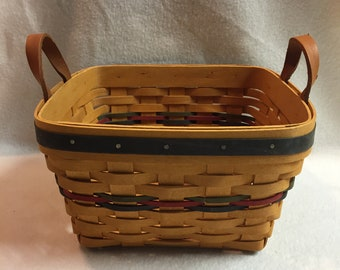 Longaberger 1997 Square Basket with Multi Color Weaving and Leather Handles (#052)