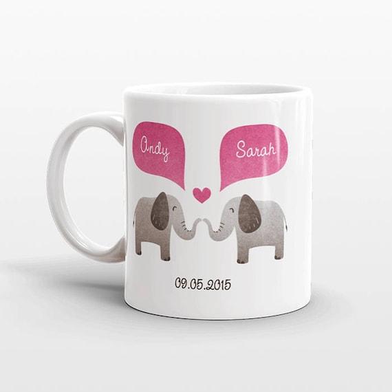 ELEPHANT Mug Personalized Valentines Day Gift for Him for Her Engagement Gift Animal Couple Mug Unique Coffee Mug Coffee Cup Animal Mug