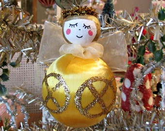 Vintage Style Angel Ornament With Spun Cotton Head