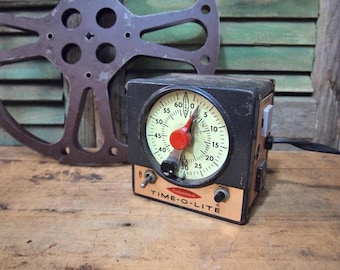 Time-o-Lite Darkroom Photography Industrial Timer Shabby Black White Typography Scientific Instrument Steampunk As- Found