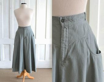 80s Midi Skirt  Olive Green Khaki Maxi Skirt  Cotton Skirt - 32 inch waist