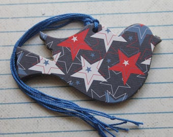 Patriotic Bird Tags 17 red, white, blue star design patterned paper over chipboard