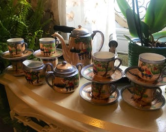 Vintage Mepoco Ware Japan Hand Painted Lusterware Tea Set for Eight