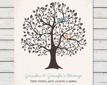 GIFT for GRANDMA, Family Tree with Grandkids Names, Mothers Day Gift for Grandma, Gift for Nana, Grandma Grandpa Gift, Grandma Birthday Gift