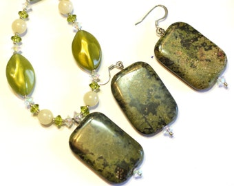 Green Marble Gemstone Pendant Necklace and Earrings Handmade Jewelry Set - Handcrafted and One of A Kind - Made in the USA
