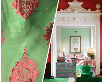 NEW! Red And Green Brocade Damask Interior Design Drapery Fabric