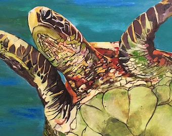 "Original Painting ""Amy's Turtle"" by F.Buchan"