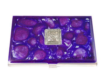 Neoclassical Medallion Business Card Case Inlaid in Hand Painted Enamel Purple and Blues Pebbles Personalized and Custom Color Options