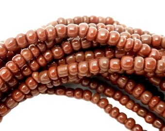 Dark Brown Nigerian Fulaai Glass Round Beads- FULL STRAND (S35B16-01)