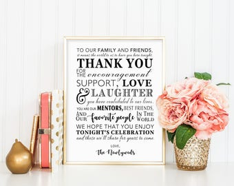 PRINTABLE  - Thank You Family Friends Wedding Reception Favors Table Sign from Newlyweds Mr & Mrs 8 x 10 or 5 x 7 DIY Instant Download