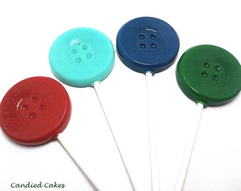 12 BUTTON LOLLIPOPS - Pick Any Color and Flavor
