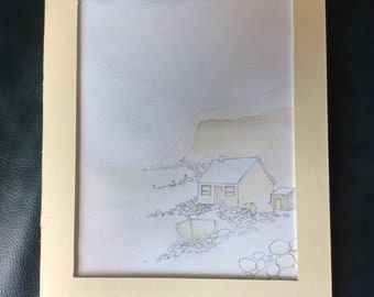 Pencil and watercolour Painting of a Fishermans Cottage