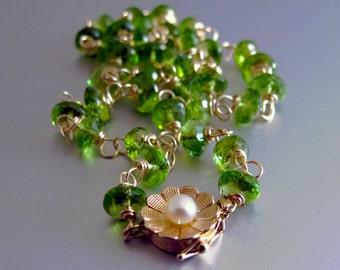 14k Peridot Necklace, 14k Gold Peridot Necklace, 14k Solid Gold Peridot Necklace, 14k Gold Hand Linked Peridot Necklace