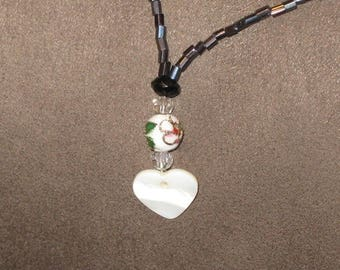 White mother of Pearl Heart Necklace and Pearl flower