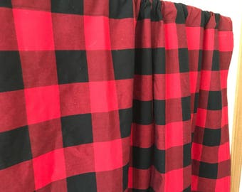 Red and Black Buffalo Check Lumberjack winter curtain valance