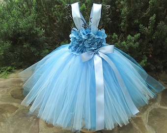 BLUE FLOWERS - BLUE Tutu Dress - Flower Girl Gown - Christening Dress - First Birthday Tutu - Pageant Girl Dress - Baby Blue Tutu Dress -