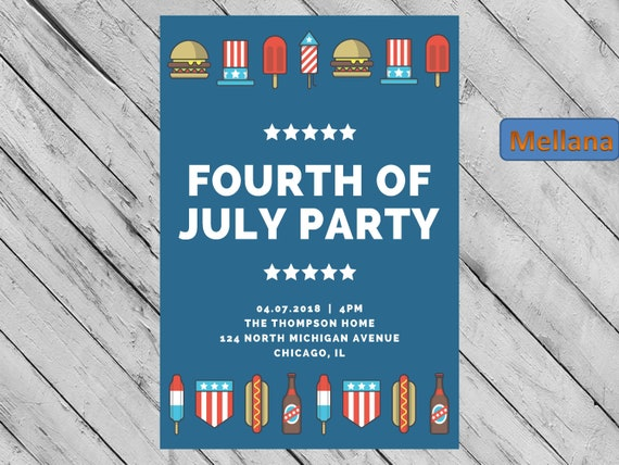 4th of july celebration fourth of july party invitation