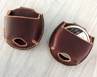 Jerky case, Snuff case, Snuff can holder,leather snuff can holder,snuff holder hang on belt,latigo leather snuff can holder,burgundy leather