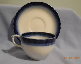 DUTCHESS Flow Blue cup and saucer by Grindley