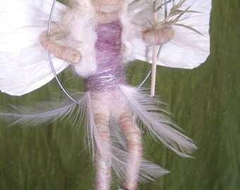 Winter Fairy, Waldorf Doll, Winter Nature Table, White, Purple, Paper and feather wings and silver branch, Original design by Borbala Arvai