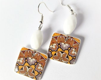 Mandala earrings yellow white OOAK
