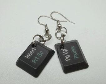 upcycled computer key earrings,dark grey computer key earrings,computer key earring,computer keys, eco-friendly, geek gift