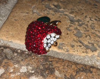 Ruby Red Bitten Apple Brooch Rubies Diamonds