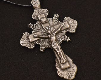 Orthodox Cross Crucifix Alloy Zamak Necklace Pendant Greek Russian #5
