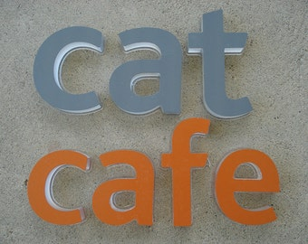 cat cafe letters - Plexiglas Type Decorative Art - Wall Decor - On Sale