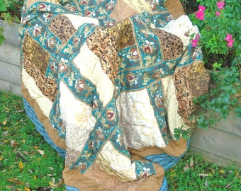 Turquoise & Gold Quilt, SPECIAL OFFER PRICE Handquilted, Double