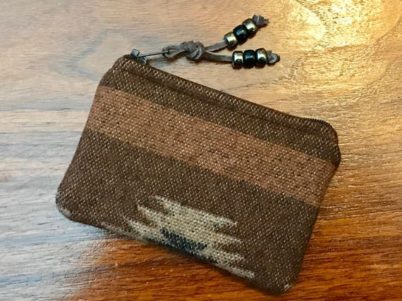 Wool Coin Purse / Phone Cord / Gift Card Holder / Zippered Pouch XL Earthy Browns