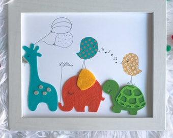 Personalized animal theme birth frame / nursery art