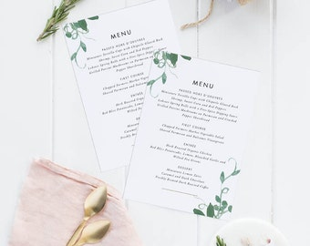 Printable Wedding Menu Printable - Modern Botanical Watercolor Wedding Menu Download - Menu PDF - Letter or A4 Size (Item code: P176)