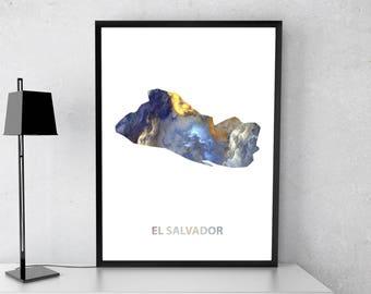 El Salvador poster, El Salvador art, El Salvador map, El Salvador print, Gift print, Poster