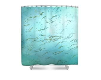Teal Bathroom Decor, Blue Shower Curtain, Beach Bathroom, Bird Shower Curtain, Seagulls, Bird Decor, Aqua Bathroom Decor, Gift Womens