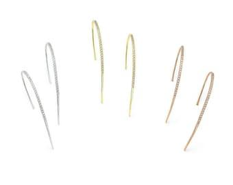 long curvy hook spike earrings, various colors, white zircons, 925 sterling silver