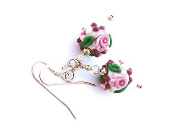 Pink Rose Earrings/Dangle Earrings/Pink Flower Earrings/Lampwork Bead Jewelry/Pink Green Earrings/Rose Jewelry/Pink Jewelry Gift for Her