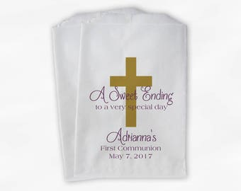 First Communion Favor Bags - Baptism or Religious Party Custom Favor Bags - Set of 25 Gold and Dusty Purple Paper Treat Bags (0073)