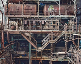 Fine art photography, Urban Decay, Abandoned, Wall Decor, Home Decor, Abandoned, Fine art print, Power Plant, Pipes, Rusty, Industrial