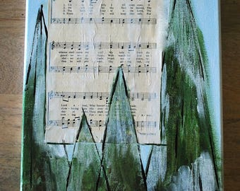 Unto The Hills I lift Mine Eyes- Rustic Hymnal Church Painting  - 12 x 12