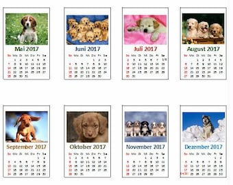 2203# Calendar 2018 with dog pictures - DIY - Doll house miniature in scale 1/12